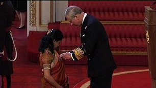 Purnima Tanuku, NDNA chief executive, receiving her OBE in 2011 for services to families