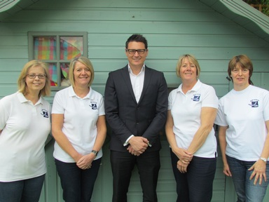 Dean Sargeant, owner of Sargeants estate agents with Sharon McCrea to his left Credit: Northfields Pre-School