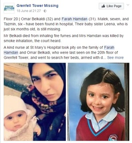 Former LEYF nursery worker Farah Hamdan with her missing baby Leena and another daughter found in hospital  Credit: Facebook