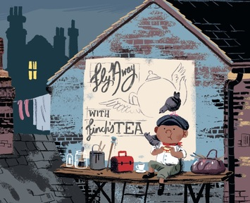 Illustration from the Grotlyn. Credit: Benji Davies and HarperCollins Children's Books